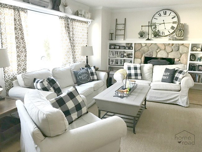 Neutral farmhouse living room