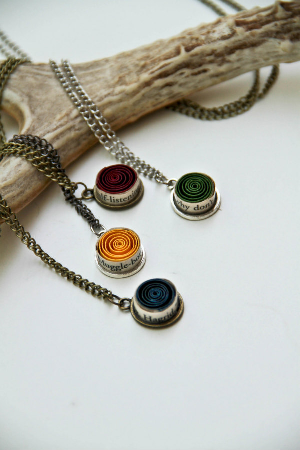 rolled and painted book page bezels on necklace chains
