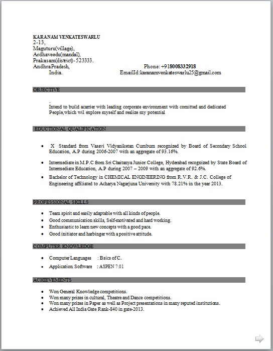 Charmant Academic Skill Conversion Chemical Engineering Sample Resume