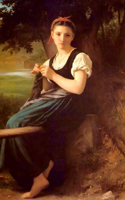 Адольф Вильям Бугро - Вяжущая девушка (1869)