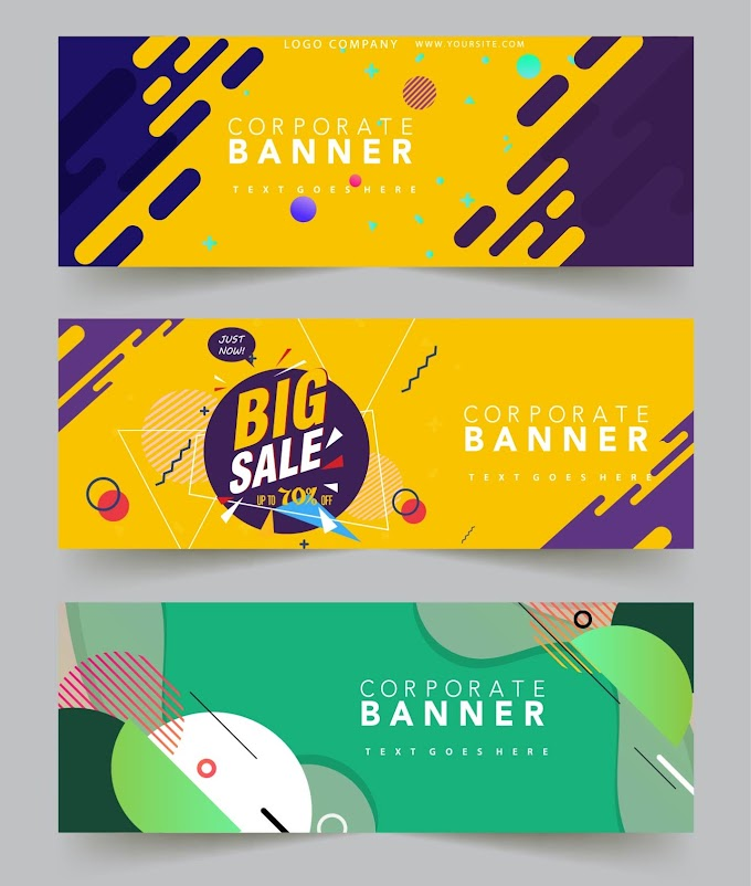 Corporate banner templates modern colorful abstract decor Free vector