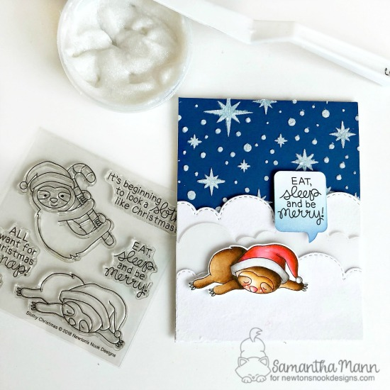 Newton's Nook Designs & Therm O Web Inspiration Week - Christmas Sloth card by Samantha Mann | Slothy Christmas Stamp Set and STarfield Stencil by Newton's Nook Designs and Flock Transfer Sheets and glitz glitter gel by Therm O Web #newtonsnook #thermoweb