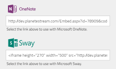 Embedding Content into Microsoft Sway and OneNote | Planet