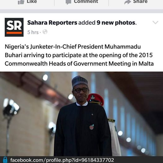 """SAHARA REPORTERS DESCRIBES PRESIDENT AS """"JUNKETER IN CHIEF"""