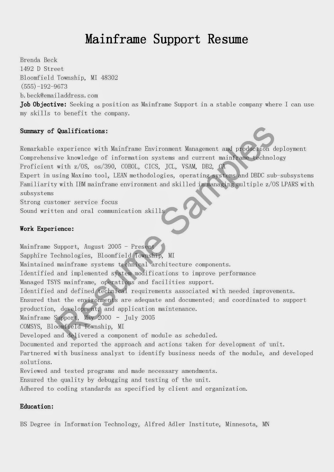 resume samples  mainframe support resume sample