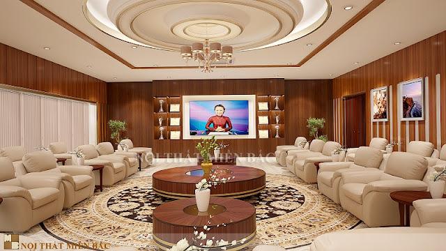 Nhằm toát lên sự lịch sự, tinh tế thì các thiết kế nội thất phòng khánh tiết hiện nay thường được thiết kế với những tone màu nhẹ nhàng như trắng sữa, ghi sáng
