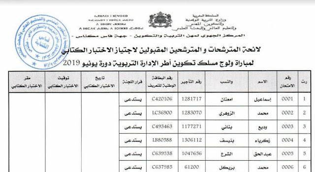 جهة فاس مكناس  لائحة المدعويين لاجتياز الاختبارات الكتابية مباراة الإدارة يونيو 2019