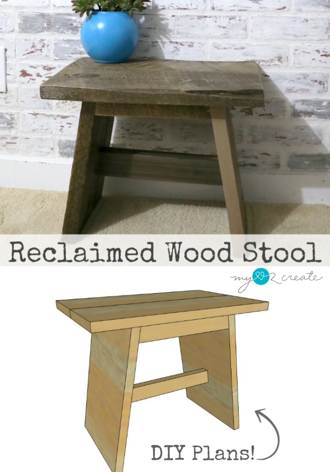 Building plans to make a reclaimed wood stool. MyLove2Create