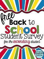 Back to School Student Survey by The Darling English Teacher