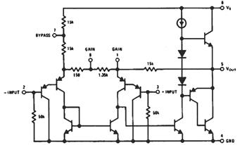 LM386 Audio Amp IC Internal Circuit Schematic