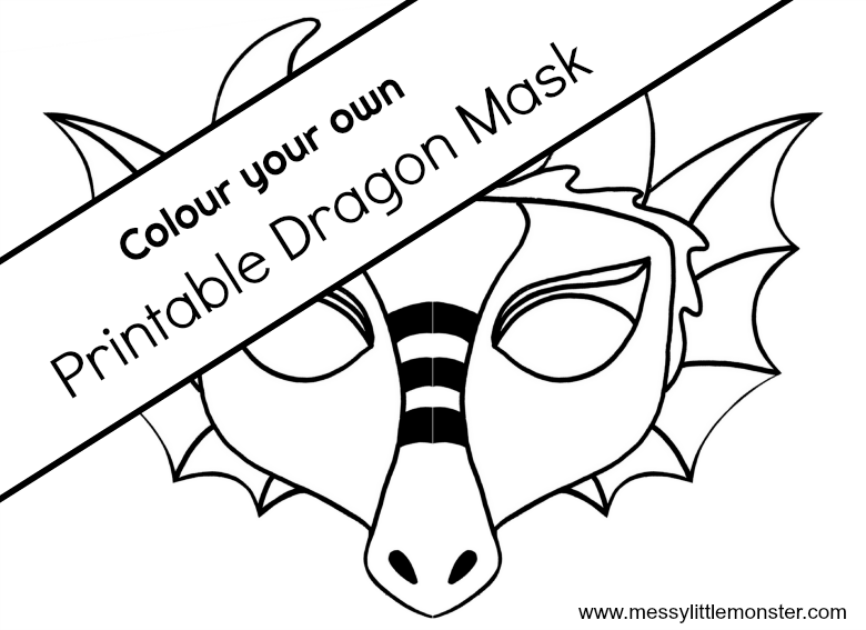 printable dragon mask template colouring page.