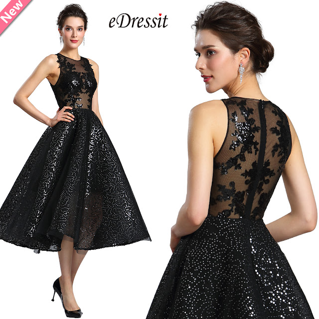 eDressit Sexy Black Sequins Cocktail Party Dress