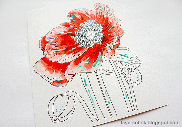 Layers of ink - Poppy Watercolor Tutorial by Anna-Karin Evaldsson. Paint with watercolors.