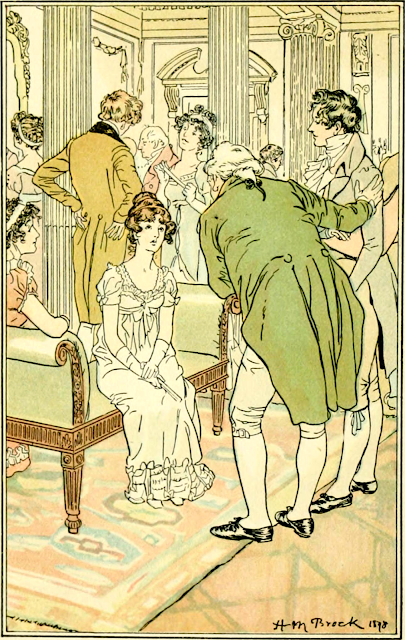 Mr Tilney is presented to Catherine Morland in Northanger Abbey by H M Brock (1898) from The Novels and Letters of Jane Austen ed by R Brimley Johnson (1906)