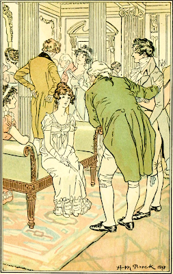 Mr Tilney is presented to Catherine Morland by H M Brock (1898) in Northanger Abbey by Jane Austen from The Novels and Letters of Jane Austen ed by R B Johnson (1906)
