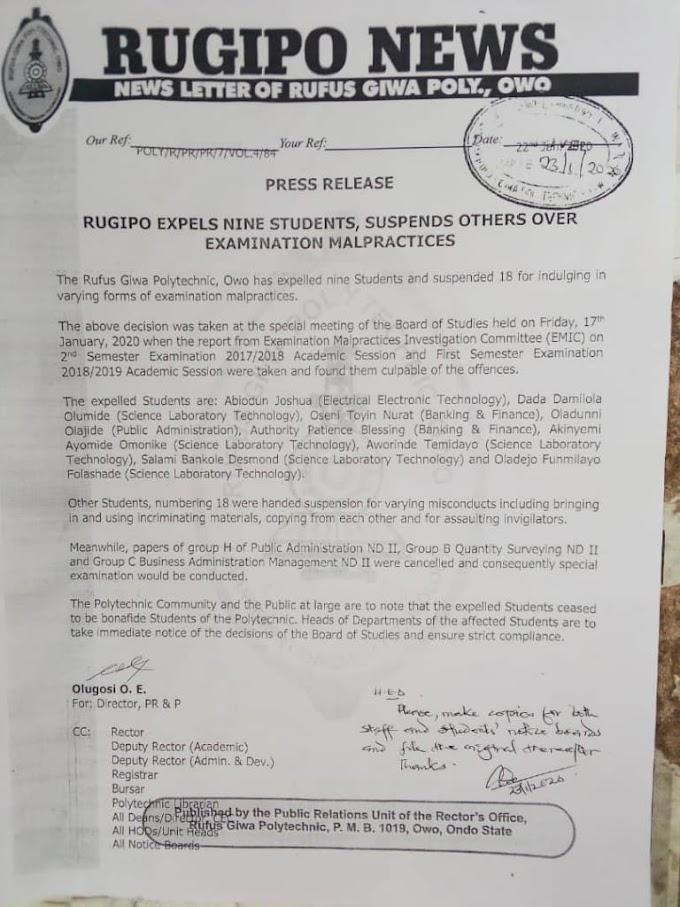 Rufus Giwa Poly Expels NINE Student Over Examination Malpractice