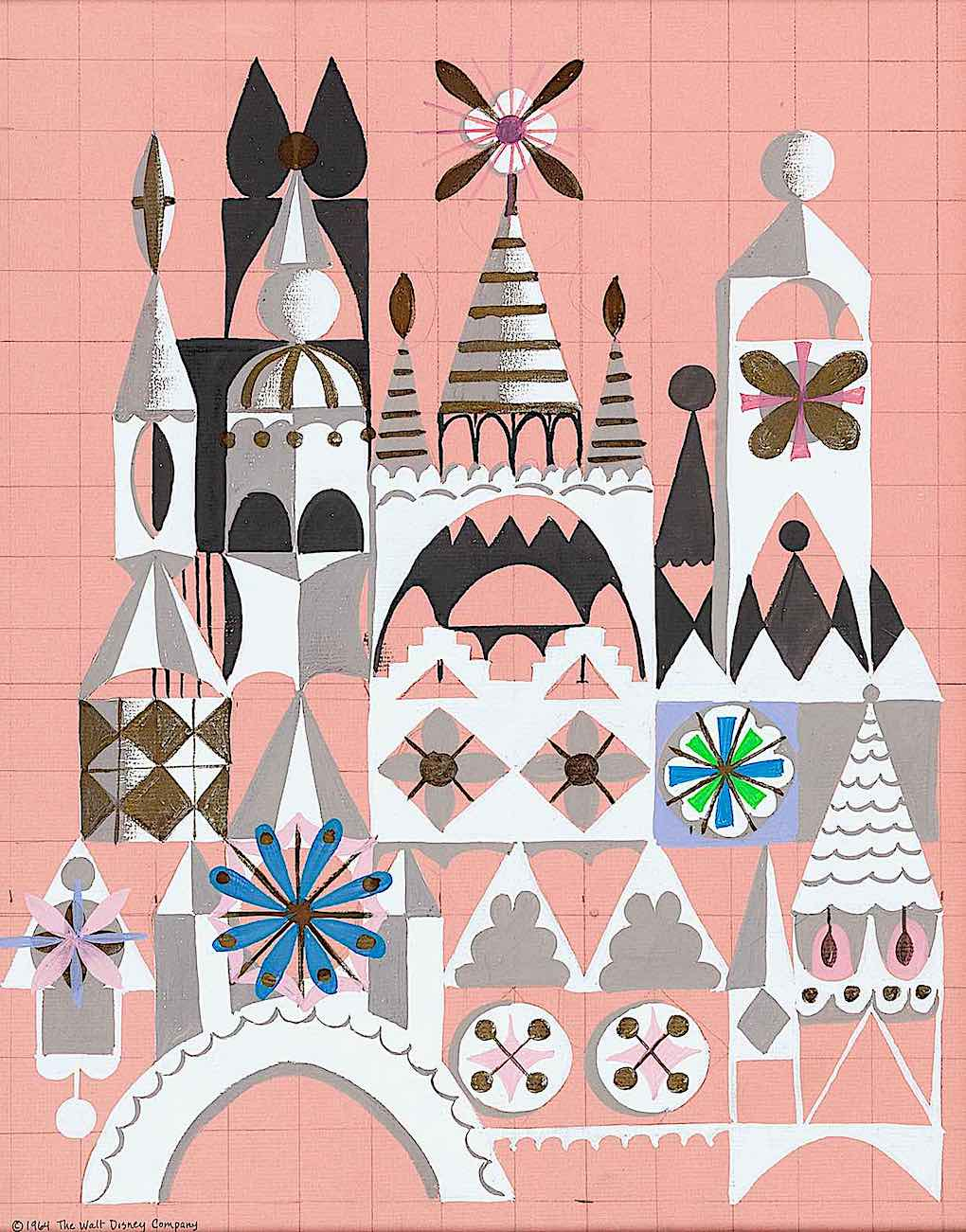 a Disney mural of a castle by Mary Blair