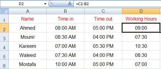 حساب ساعات العمل في Excel
