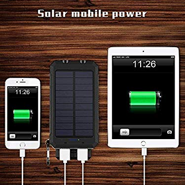 Ayyie Mobile Power Bank - 10000mAh Solar Battery Charger with Lights