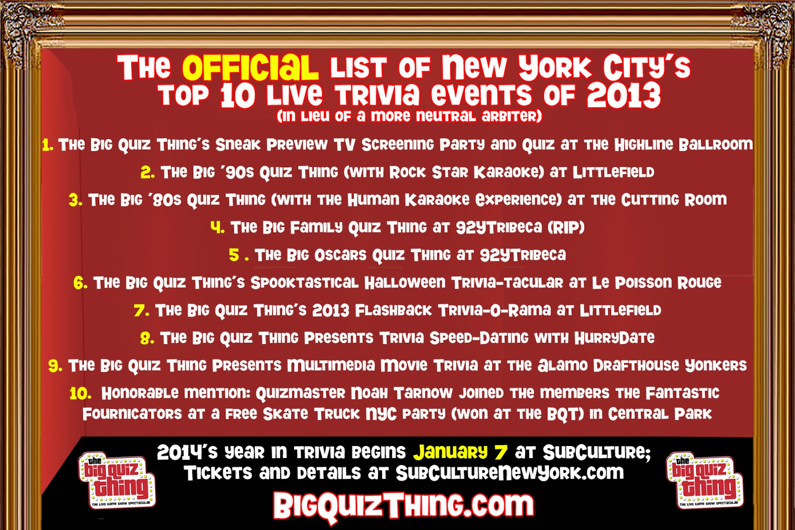 The Big Quiz Thing: NYC quiz preview: Tuesday, Jan 7