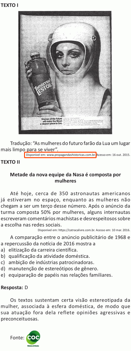 Propaganda antiga machista apresentada na prova do ENEM 2016