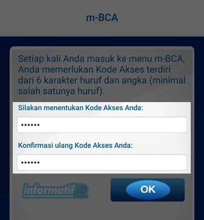 Verifikasi Ulang BCA Mobile - Masukan Kode Akses
