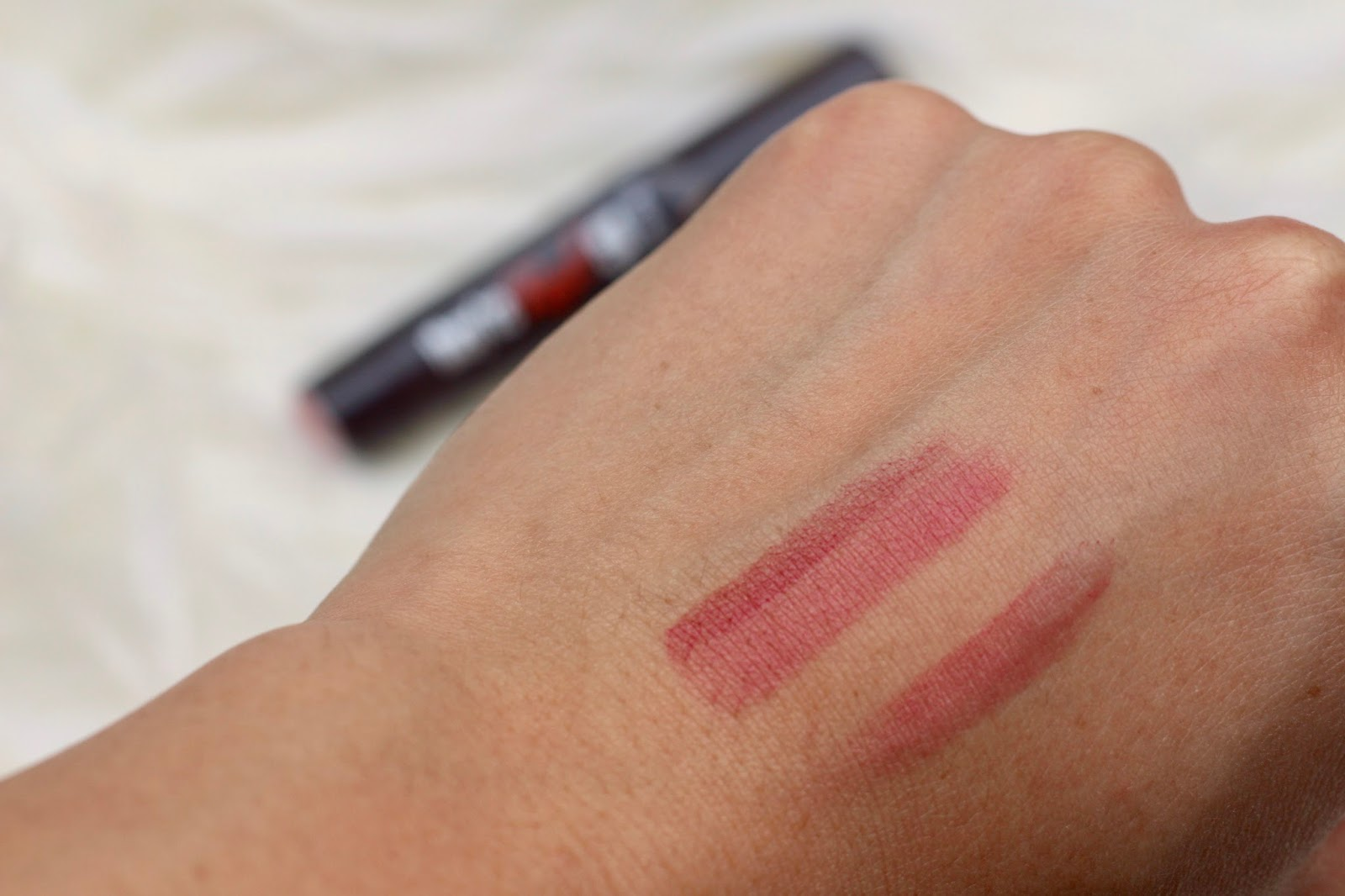 Benefit Cosmetics Double the Lip in Lusty Rose Swatch on hand