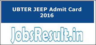 UBTER JEEP Admit Card 2016