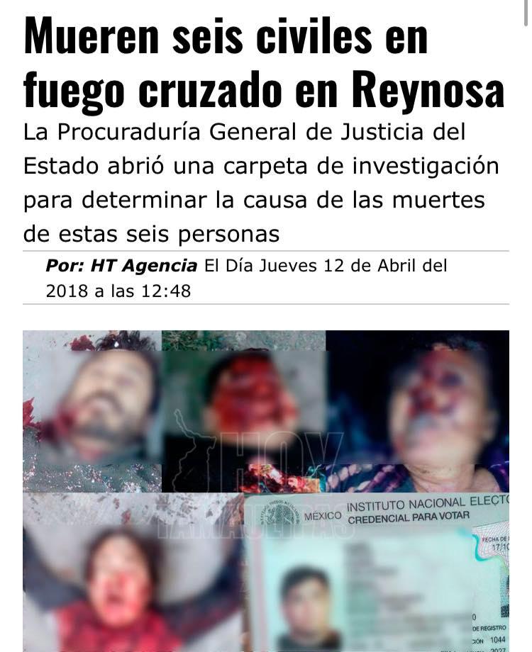Perecen seis civiles durante enfrentamientos en Reynosa