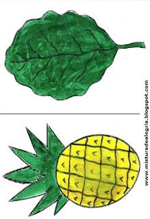 Desenho de couve e abacaxi