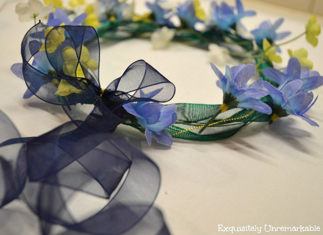 Easy faux Floral Garland Headpiece with ribbon