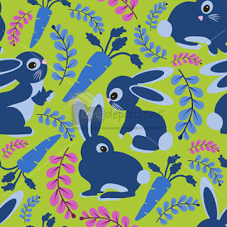 Bunnies and carrots seamless vector pattern
