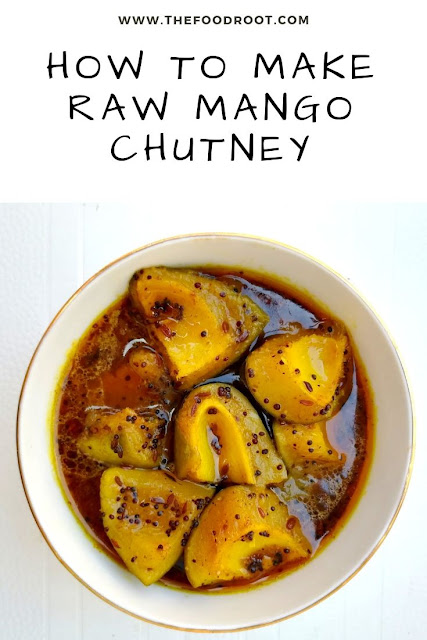 It's a summer chutney made with raw mango, spices, sugar and sauteed till the raw mangoes starts to soften. It can be stored for at least a month.