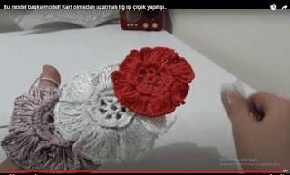 Kart olmadan uzatmalı tığ işi çiçek yapılışı
