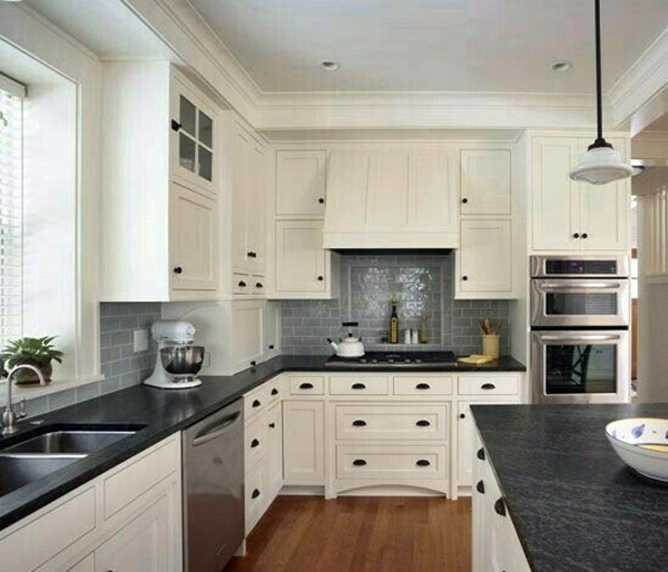 5 Modern White Kitchen Cabinet With Black Countertop Ideas ... on Kitchen Backsplash With Black Countertop  id=28347