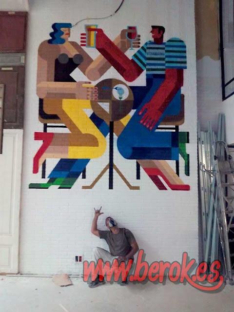 Decoración graffiti restaurante Ultramarinos