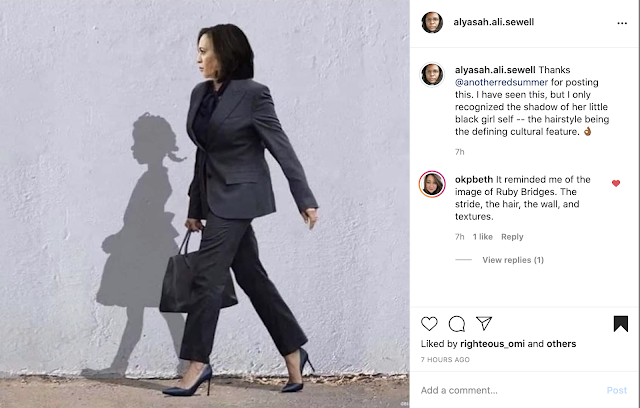 VP Kamala Harris walking with her shadow cast before her -- a black girl with a braided her