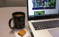Laptop opened on desk next to a cup of coffee and a fig newton cookie