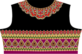 Jewelry Print Lehenga Textile Digital Design - Back 2739