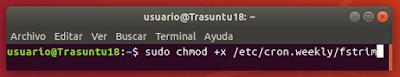 sudo chmod +x /etc/cron.weekly/fstrim