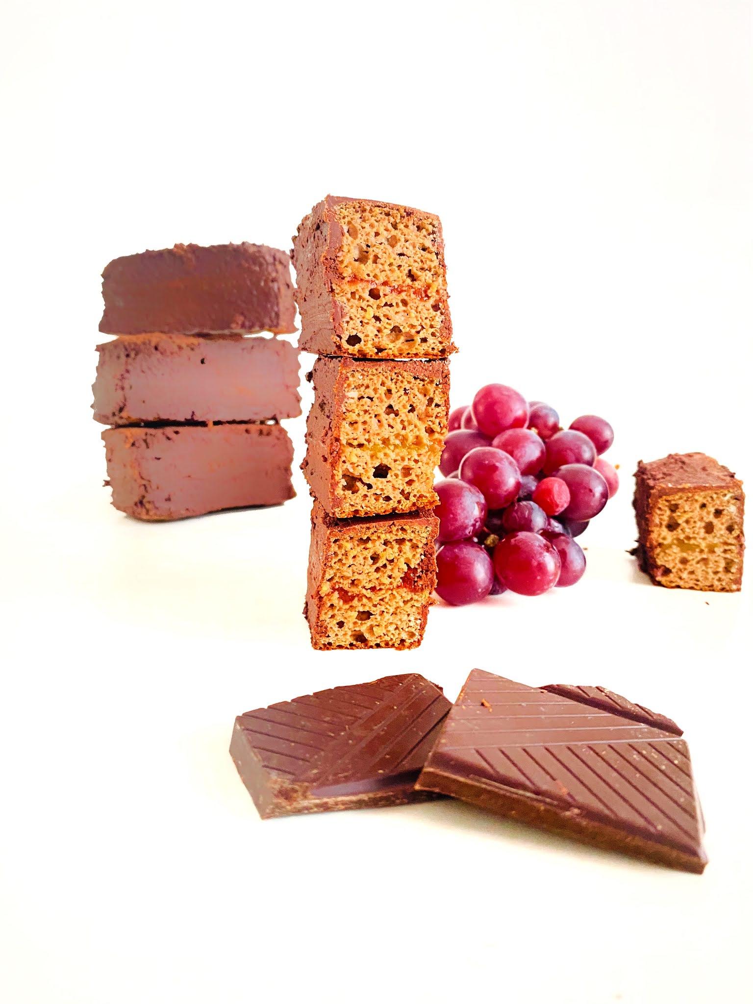 Barras fofas de chocolate e compotas