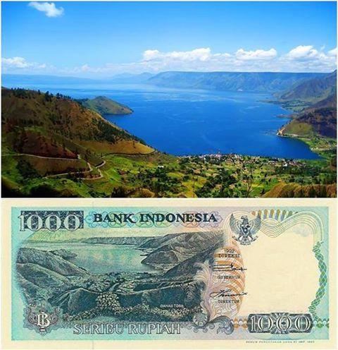 foto danau toba di uang seribu