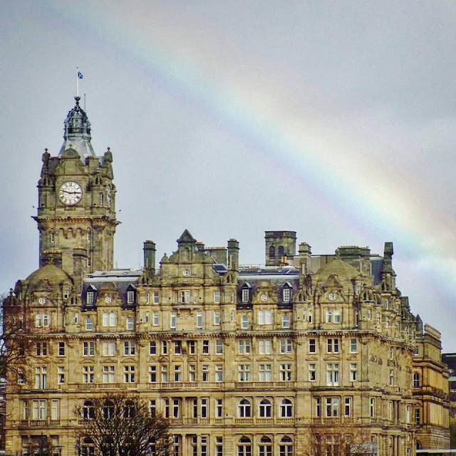Edinburgh city centre with rainbow