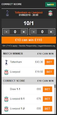 Tottenham vs Liverpool Correct Score Odds