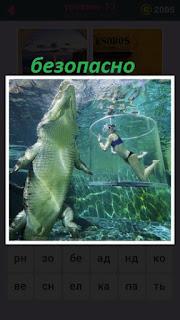 655 слов большой крокодил под водой и рядом женщина в клетке 13 уровень