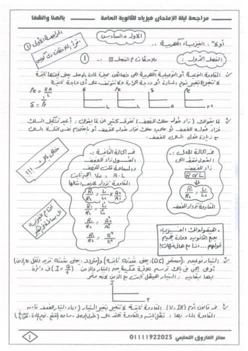 مراجعة فيزياء ثالثة ثانوي | نظام جديد 1