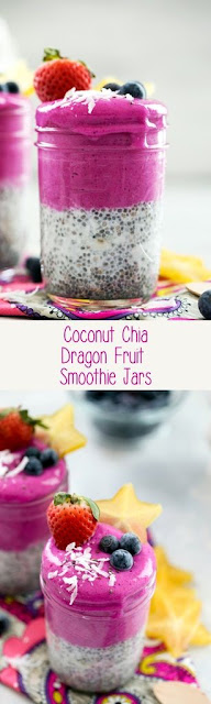 Coconut Chia Dragon Fruit Smoothie Jars