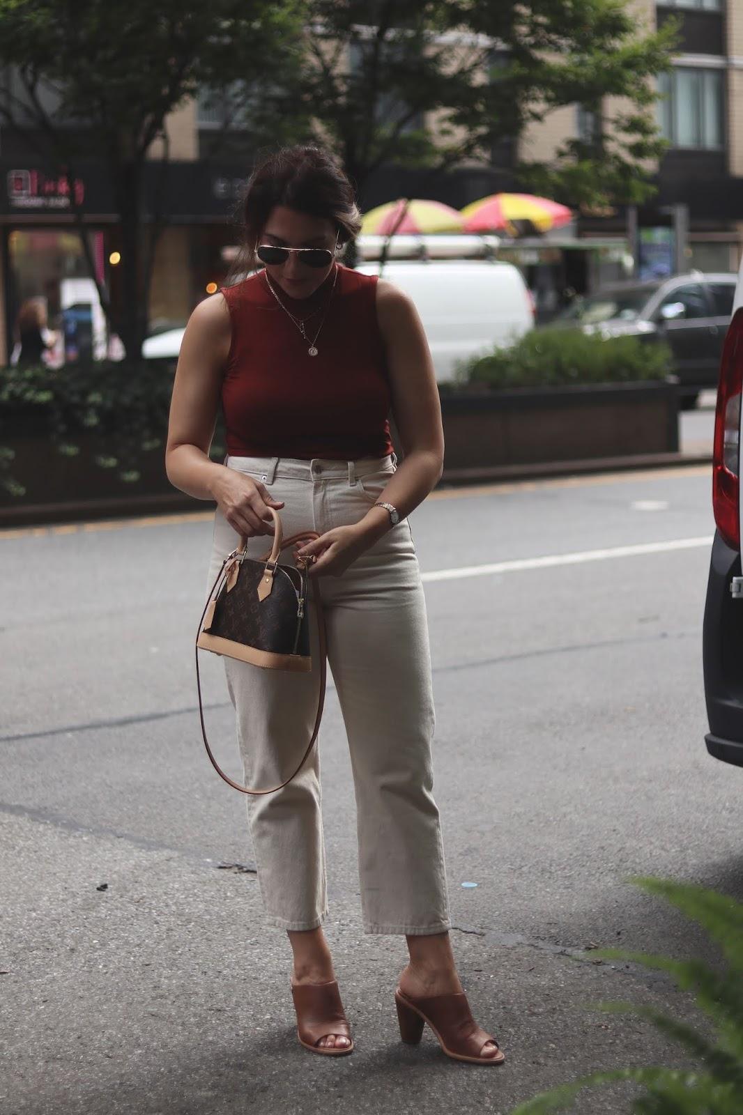 le chateau mock neck top outfit & other stories jeans louis vuitton bb alma monogram outfit idea