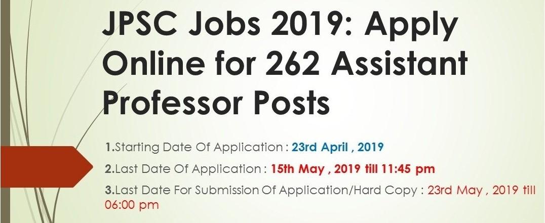 JPSC Jobs 2019 Apply Online For 262 Assistant Professor Posts