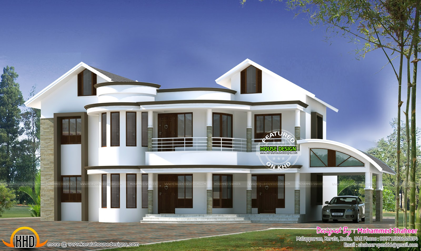 modern house plans curved roof front design On roof and floor